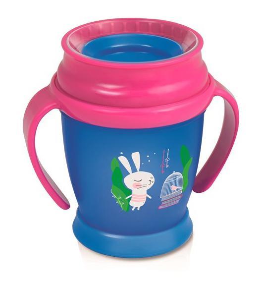 LOVI nevylévací hrníček 360° MINI RABBIT 210 ml s úchyty bez BPA - růžové víčko