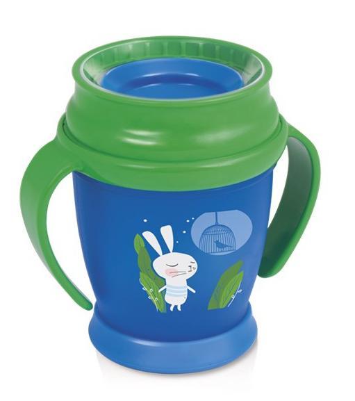 LOVI nevylévací hrníček 360° MINI RABBIT 210 ml s úchyty bez BPA - zelené víčko