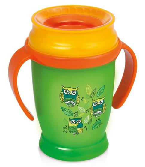 LOVI nevylévací hrníček 360° JUNIOR FOLKY 250 ml s úchyty bez BPA - zelený