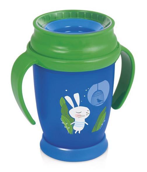 LOVI nevylévací hrníček 360° JUNIOR RABBIT 250 ml s úchyty bez BPA - zelený