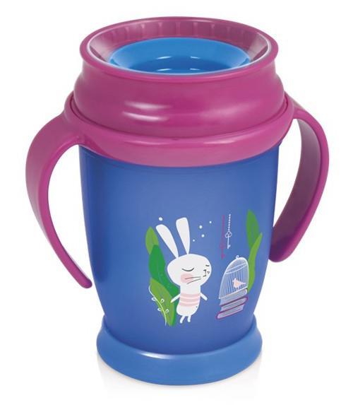 LOVI nevylévací hrníček 360° JUNIOR RABBIT 250 ml s úchyty bez BPA - růžový