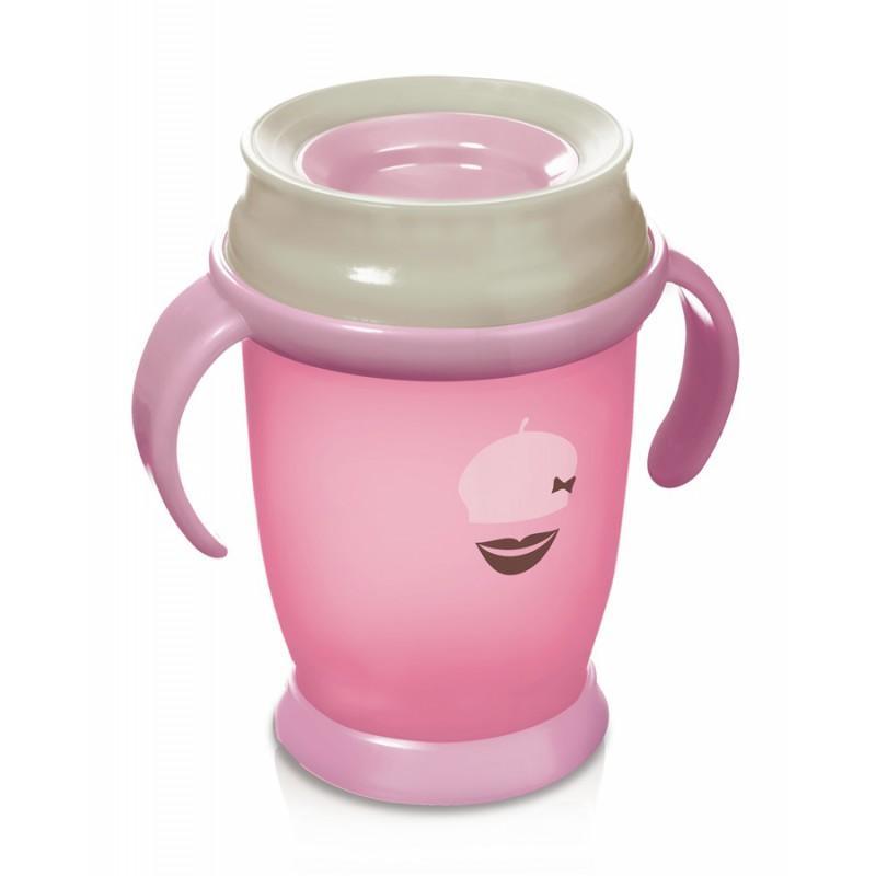 LOVI nevylévací hrníček 360° JUNIOR RETRO 250 ml s úchyty bez BPA - růžová retro