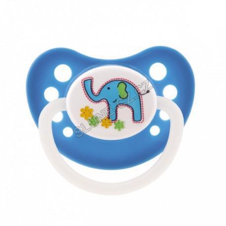 Canpol babies dudlík silikonový anatomický 0-6m Colourful Animals new - modrá - slon