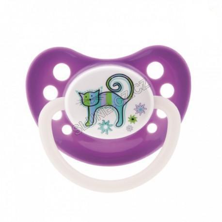 Canpol babies dudlík silikonový anatomický 0-6m Colourful Animals new - fialová - kočka