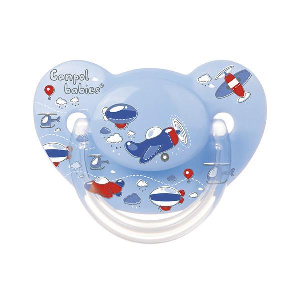 Canpol babies dudlík silikonový anatomický 0-6m MACHINES - modrá-letadlo