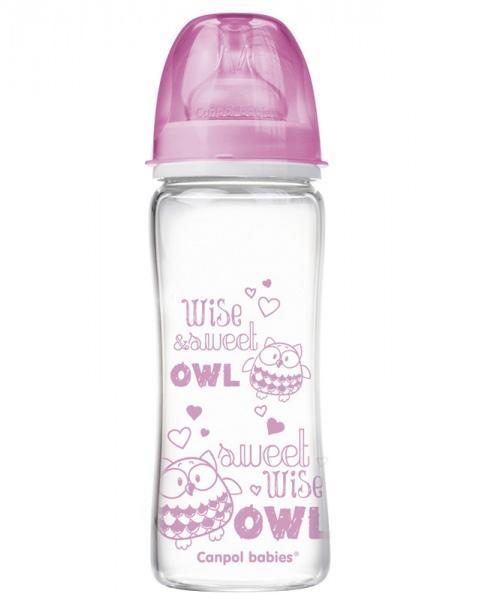 Canpol babies láhev EasyStart PURE glass 330 ml - růžová
