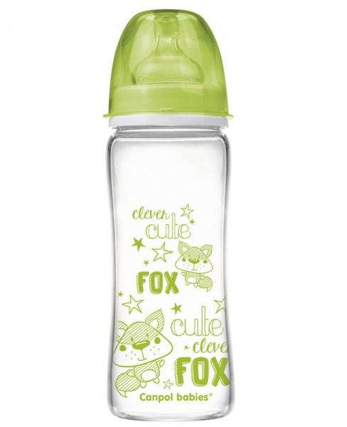 Canpol babies láhev EasyStart PURE glass 330 ml - zelená