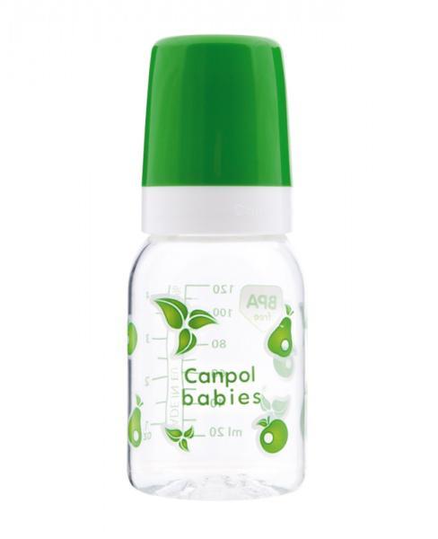 Canpol babies láhev s jednobarevným potiskem 120 ml - zelená