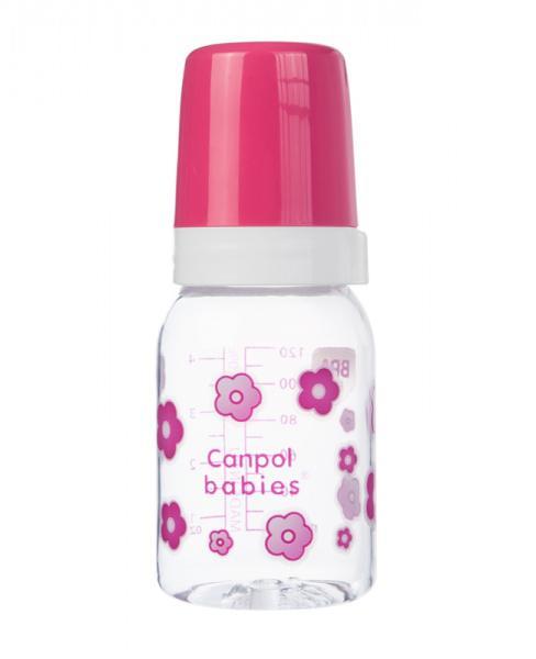 Canpol babies láhev s jednobarevným potiskem 120 ml - růžová