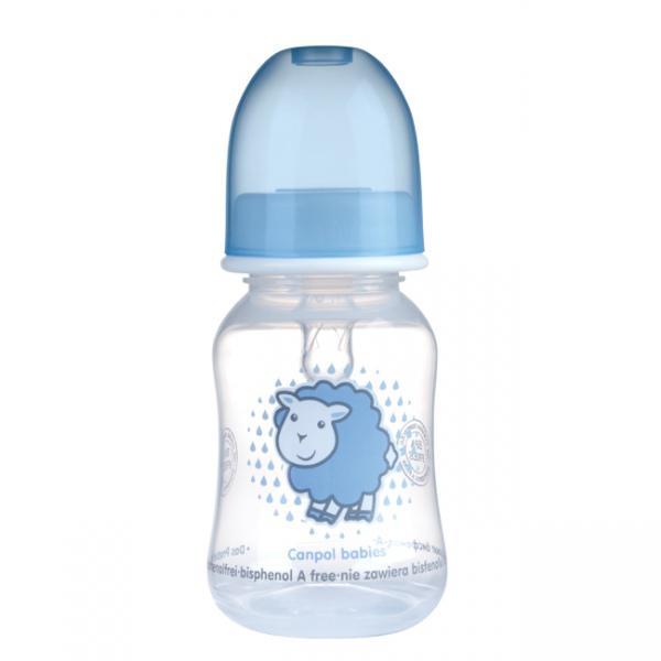 Canpol babies láhev s potiskem TRANSPARENT 120 ml bez BPA - modrá/ovce