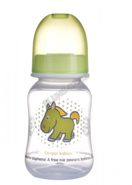 Canpol babies láhev s potiskem TRANSPARENT 120 ml bez BPA - zelená/koník