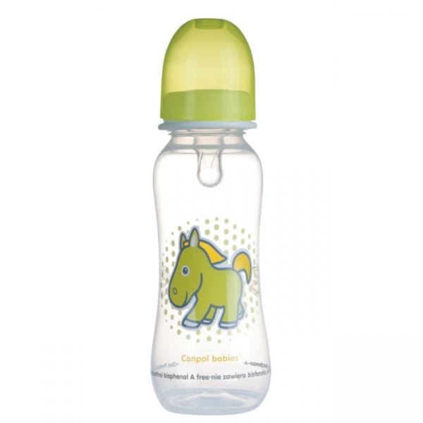 Canpol babies láhev s potiskem TRANSPARENT 250 ml bez BPA - zelená/koník