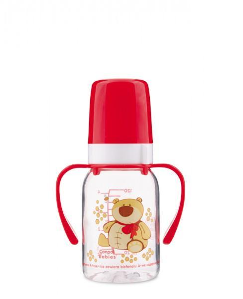 Canpol babies láhev s potiskem Happy Animals a úchyty bez BPA 120 ml - červená/medvěd