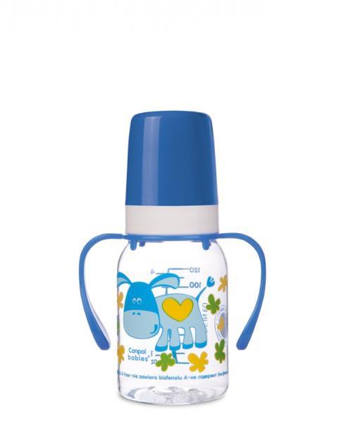 Canpol babies láhev s potiskem Happy Animals a úchyty bez BPA 120 ml - modrá/osel