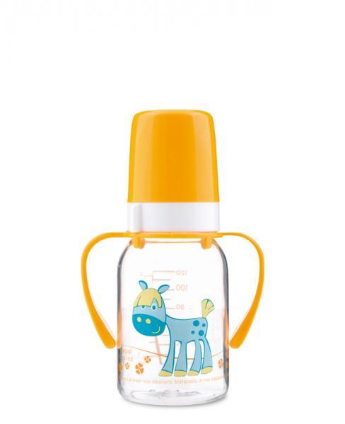 Canpol babies láhev s potiskem Happy Animals a úchyty bez BPA 120 ml - žlutá/kůň