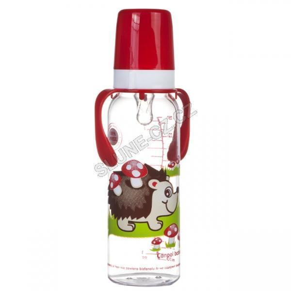Canpol babies láhev s potiskem kontinenty 250 ml s úchyty 12m+ - ježek/červená