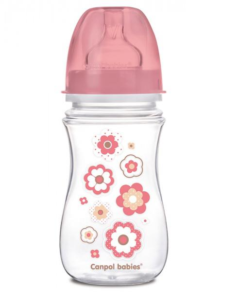 Canpol babies láhev se širokým hrdlem Newborn baby 240ml - růžová