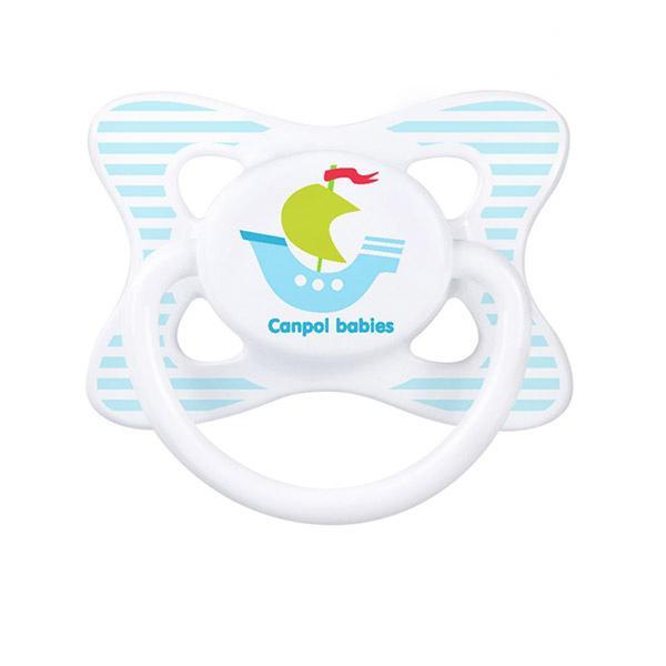Canpol babies dudlík silikonový symetrický 18m+ SUMMERTIME - světle modrá/ loď