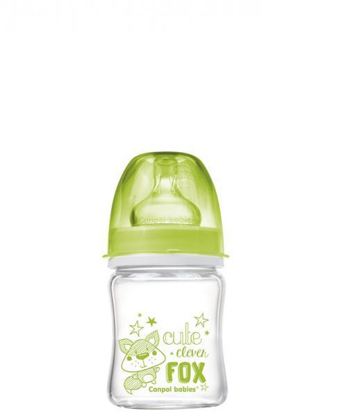 Canpol babies láhev EasyStart PURE glass 120 ml - zelená