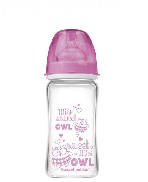 Canpol babies láhev EasyStart PURE glass 240 ml - růžová