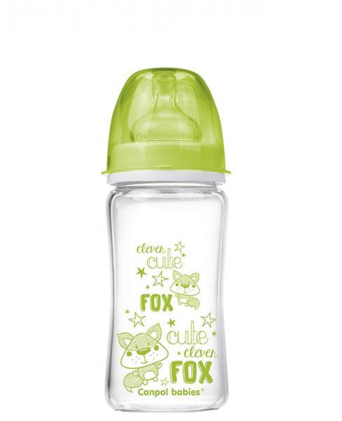 Canpol babies láhev EasyStart PURE glass 240 ml - zelená