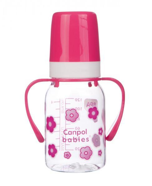 Canpol babies láhev s jednobarevným potiskem a úchyty 120 ml - růžová