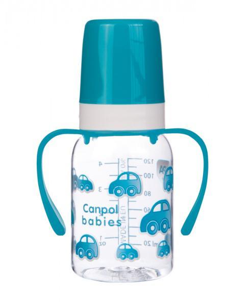 Canpol babies láhev s jednobarevným potiskem a úchyty 120 ml - modrá