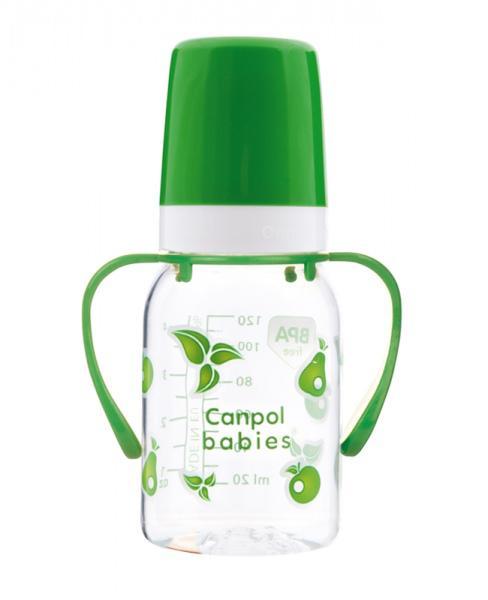 Canpol babies láhev s jednobarevným potiskem a úchyty 120 ml - zelená