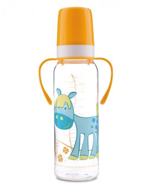 Canpol babies láhev s potiskem Happy Animals a úchyty bez BPA 250 ml 12m+ - žlutá/kůň
