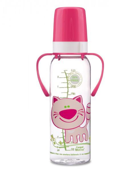 Canpol babies láhev s potiskem Happy Animals a úchyty bez BPA 250 ml 12m+ - růžová/kočka
