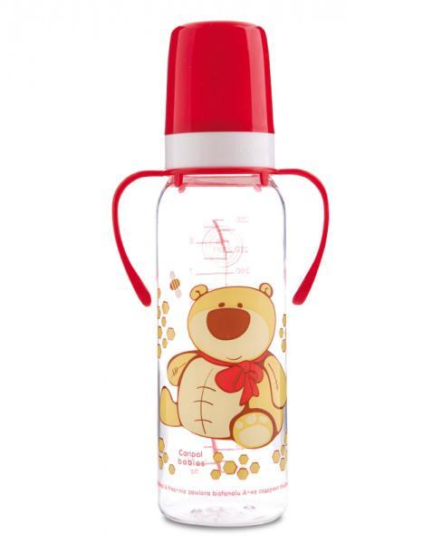 Canpol babies láhev s potiskem Happy Animals a úchyty bez BPA 250 ml 12m+ - červená/medvěd