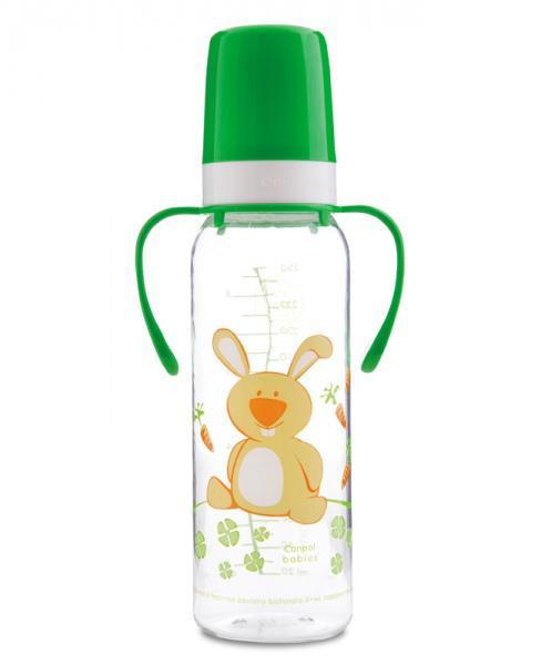 Canpol babies láhev s potiskem Happy Animals a úchyty bez BPA 250 ml 12m+ - zelená/zajíc