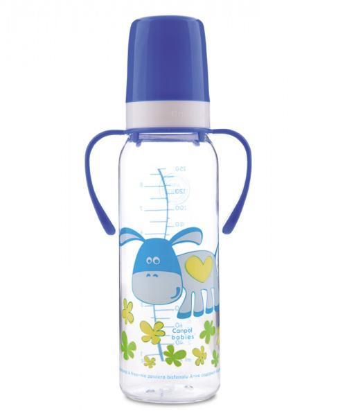 Canpol babies láhev s potiskem Happy Animals a úchyty bez BPA 250 ml 12m+ - modrá/osel