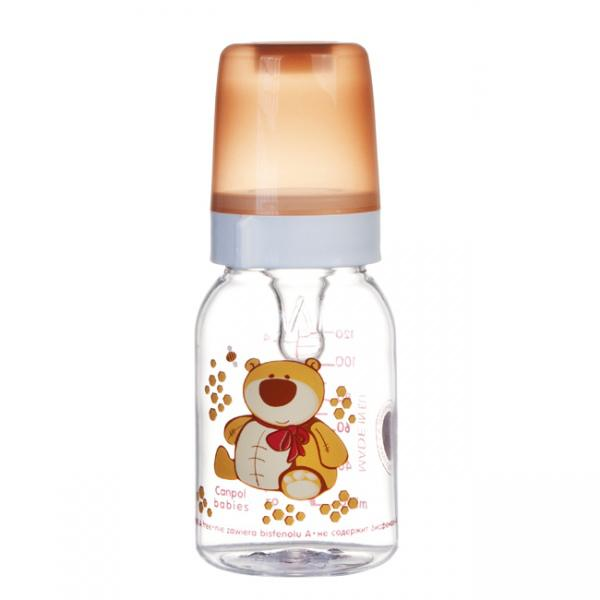 Canpol babies láhev s potiskem Happy Animals 120 ml 3m+ - medvěd