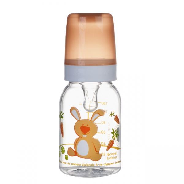 Canpol babies láhev s potiskem Happy Animals 120 ml 3m+ - zajíček