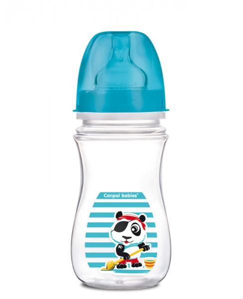 Canpol babies láhev se širokým hrdlem PIRÁTI 240 ml - světle modrá