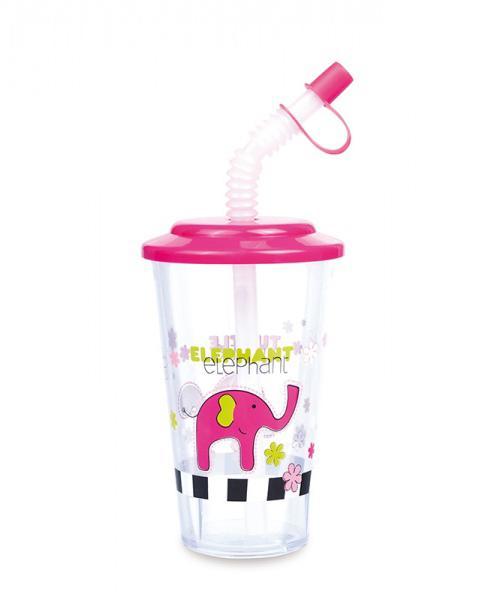Canpol babies pohárek s uzavíratelnou slámkou Colourful Animals - růžová/slon/DOP