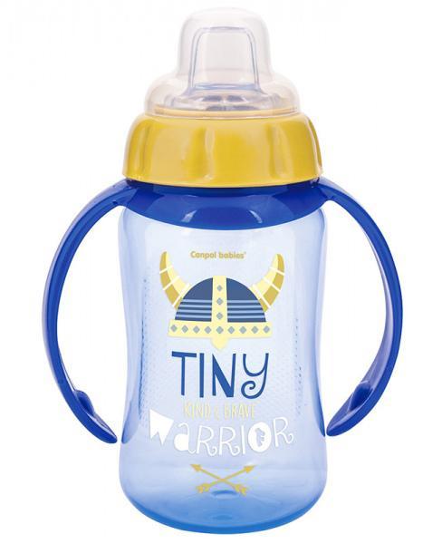 Canpol babies tréninkový hrníček Future Daydreams se silikonovým pítkem a úchyty - tmavě modrá/Tiny Warrior