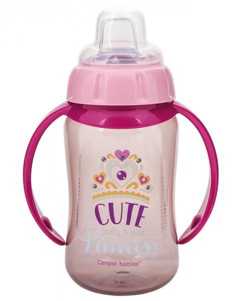 Canpol babies tréninkový hrníček Future Daydreams se silikonovým pítkem a úchyty - růžová/Cute Princess
