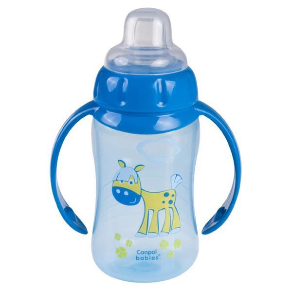 Canpol babies tréninkový hrníček Happy Animals se silikonovým pítkem a úchyty