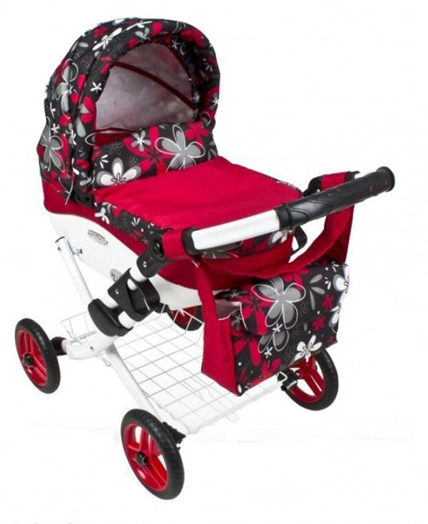 DEPEMO Kočárek pro panenky Mína - 18 červené barvené kytky