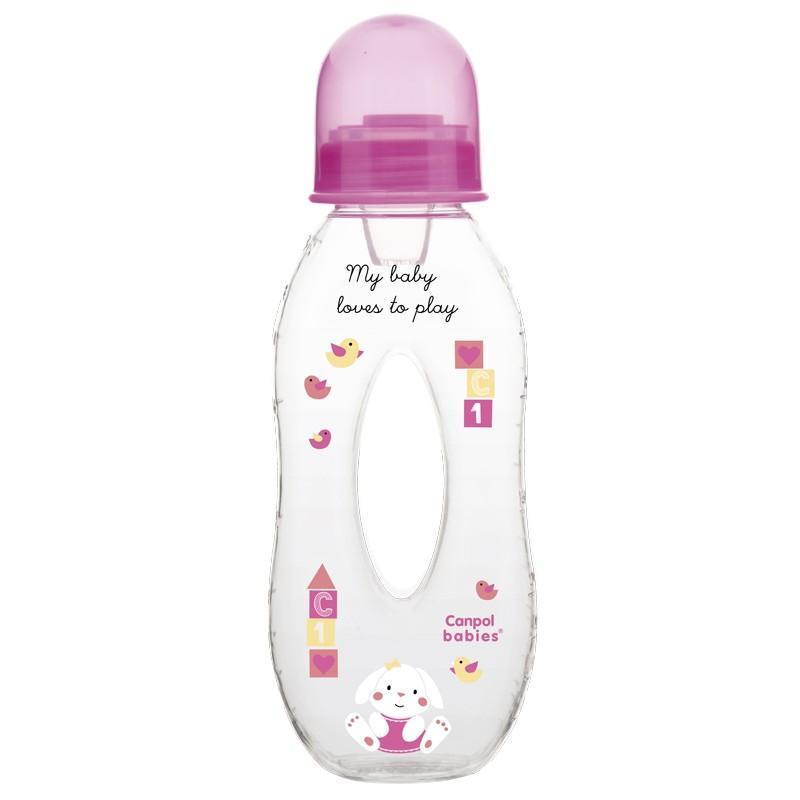 Canpol babies láhev slza Sweet Fun 250 ml 6m+ - růžová