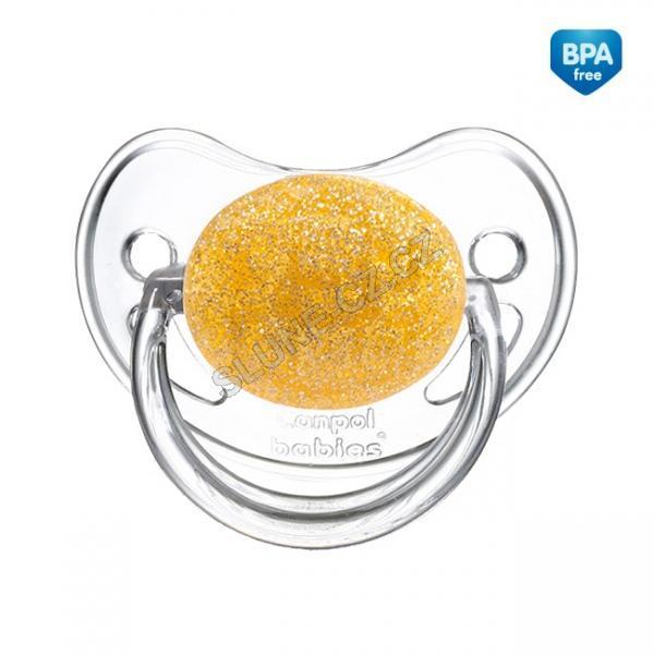 Canpol babies dudlík silikonový anatomický 18m+ MOONLIGHT - žlutá