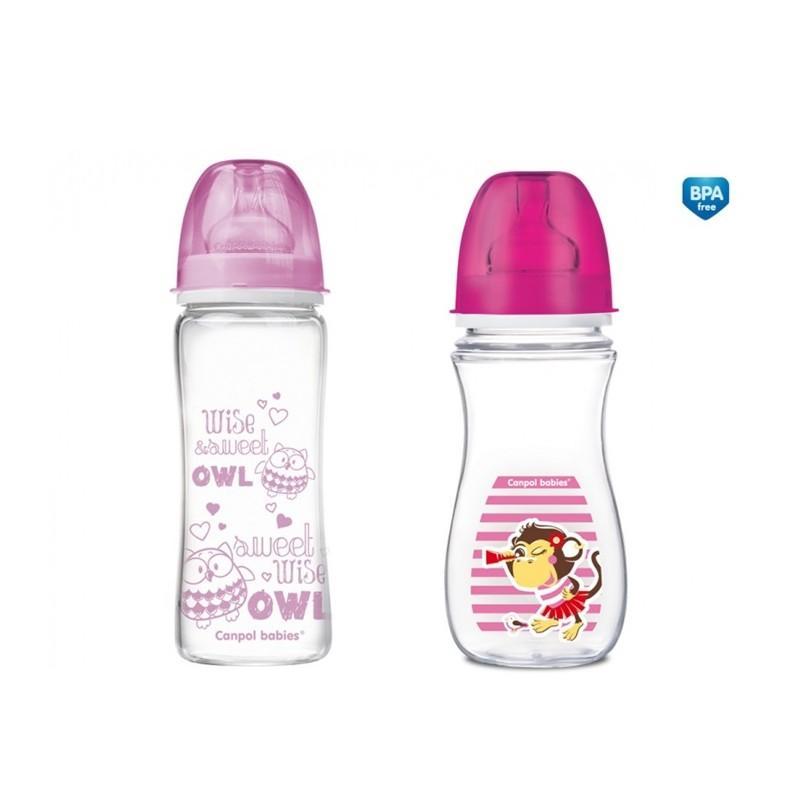 Canpol babies Láhev EasyStart PURE glass 330 ml + Láhev EasyStart Piráti 300 ml ZDARMA - růžová