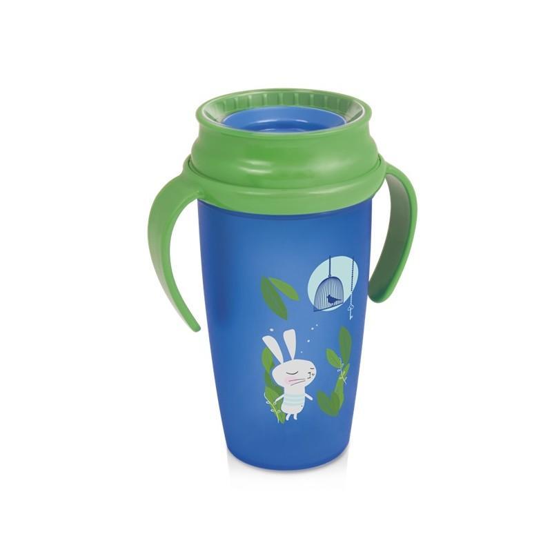 LOVI nevylévací hrníček 360° ACTIVE RABBIT 350 ml s úchyty bez BPA - zelený