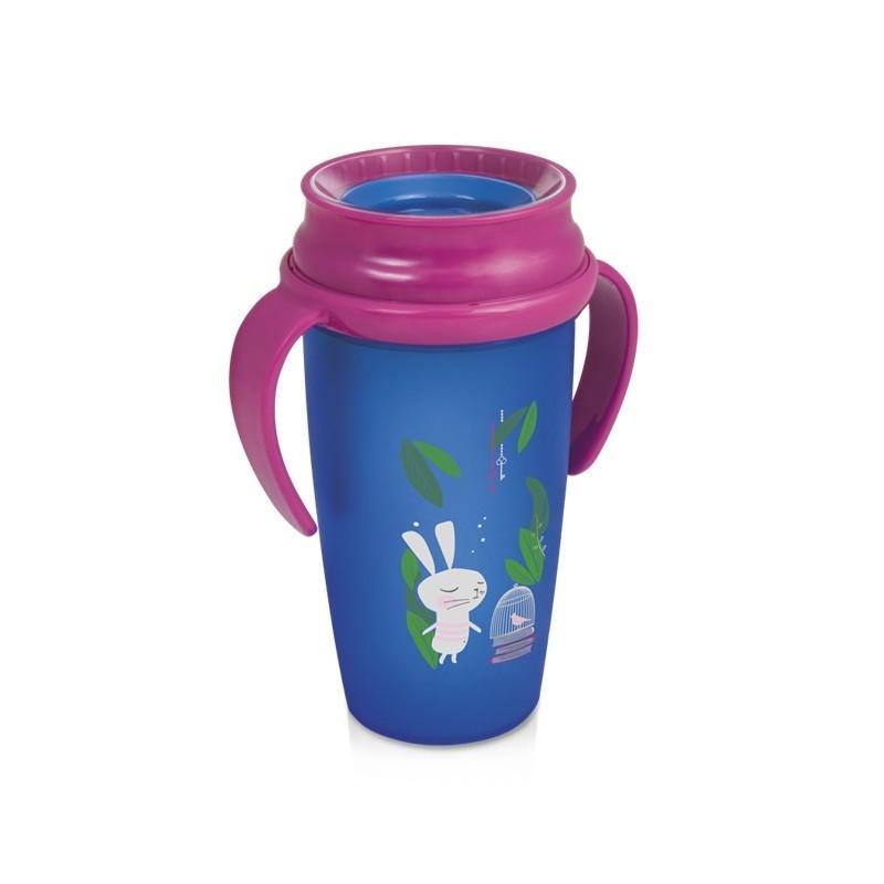 LOVI nevylévací hrníček 360° ACTIVE RABBIT 350 ml s úchyty bez BPA - růžový