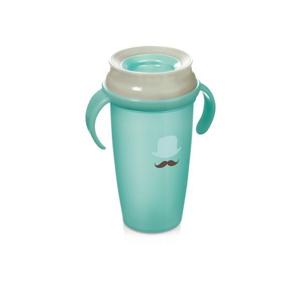LOVI nevylévací hrníček 360° ACTIVE RETRO 350 ml s úchyty bez BPA - modrá retro