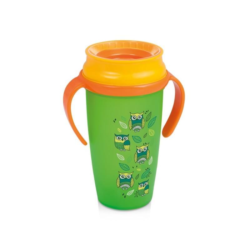 LOVI nevylévací hrníček 360° ACTIVE FOLKY 350 ml s úchyty bez BPA - zelený folky
