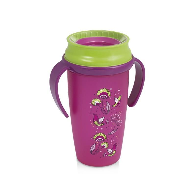 LOVI nevylévací hrníček 360° ACTIVE FOLKY 350 ml s úchyty bez BPA - růžový folky