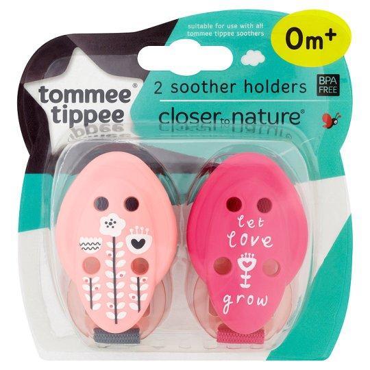 Tommee Tippee Klips na dudlík C2N, 2ks - růžová kytičky